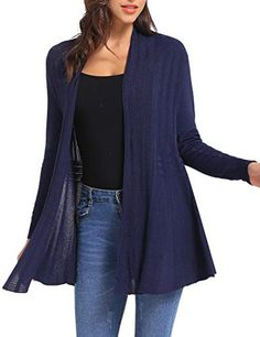 iClosam Women Casual Cardigan Knitted Open Front Long Sleeve Mid-Length  Warm Cardigan Sweater   4b4252264