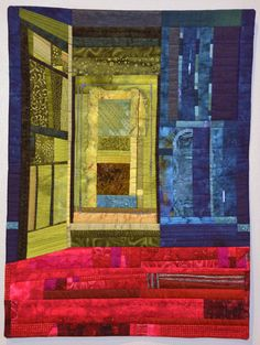 """""""An Invitation"""" art quilt by Joan Bratton.  Machine pieced & quilted, beaded, commercial and hand-dyed cottons, silk, mulberry paper."""