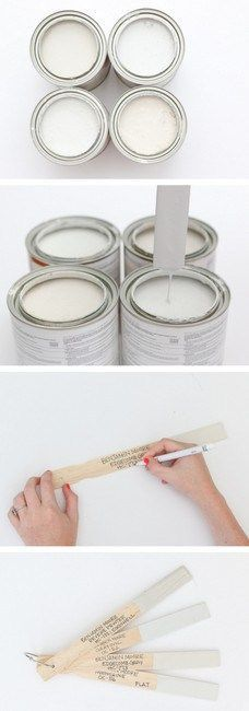 Here's the best way to never ever forget your home's paint colors. Dip old paint sticks in paint and write the information right on there! Such a genius trick for your home to stay organized!