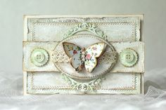 Shabby chic card with a butterfly - Pastellipäivä. Decorative Boxes, Shabby Chic, Butterfly, Home Decor, Cards, Chic, Homemade Home Decor, Bowties, Decoration Home
