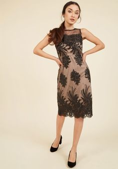 Luxe Illuminations Sheath Dress in Noir | ModCloth