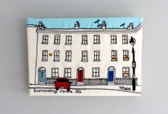 Row of houses, Bermondsey Square, SE1 London, England - Freehand machine embroidery and applique picture