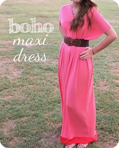 Love this simple idea for spring or summer. Boho maxi dress. #summer #sewing