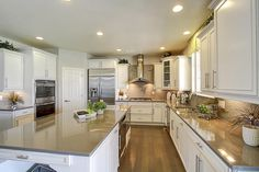 Large kitchen ideas for long rooms. Long lovely kitchen island. #DRHorton #Homes
