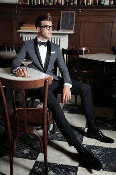 Grey shawl collar tuxedo - two-tone