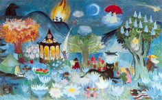 Tove ----- In 70 year old Tove Jansson painted her last monumental work for the Taikurin hattu (Hobgoblin's hat) kindergarten in Pori, Finland. Three-part mural presents Moominvalley in spring, summer and autumn. Tove Jansson, Les Moomins, Moomin Valley, Hobgoblin, Illustrations And Posters, Children's Book Illustration, Fairy Tales, Web Design, Artsy