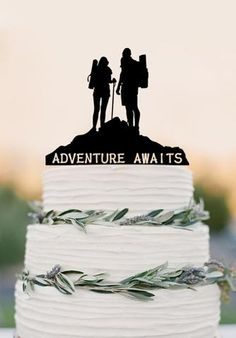 Adventure Awaits Cake Topper Bon Voyage Travel Decorations, Wedding cake topper broom and groom Funnel Cake 6 inch funnel cake ring Wedding Cake Fresh Flowers, Fall Wedding Cakes, Wedding Cake Toppers, Our Wedding, Dream Wedding, Wedding Cupcakes, Purple Wedding, Wedding Venues, Wedding Decorations