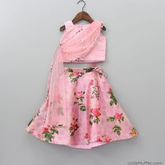 Pre Order: Rose Print Pink Ghagra And Top With Attached Dupatta Indian Dresses For Kids, Kids Indian Wear, Kids Ethnic Wear, Baby Frocks Designs, Kids Frocks Design, Baby Girl Dresses Fancy, Girls Dresses, Baby Dresses, Kids Blouse Designs