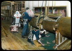 Re-firing green tea in paper pans  Enami Studio Lantern Slide No : 600.  About 1920's, Japan