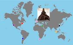 Interactive World JavaScript Map   (tutorial for an interactive map of the world you can use to display travel photos)
