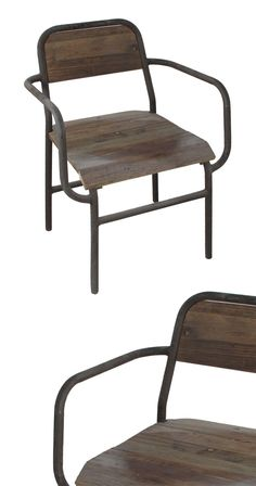 Bring a hint of schoolyard nostalgia into your home with this handsome vintage-inspired armchair. Wonderfully antiqued, this Schoolhouse Armchair features sleek metal framing, a rustic wood seat, and a...  Find the Schoolhouse Armchair, as seen in the The Foundry Collection at http://dotandbo.com/collections/the-foundry?utm_source=pinterest&utm_medium=organic&db_sku=114206