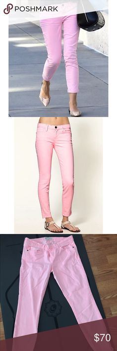 Current Elliott Pink Jeans Current Elliott Pink Jeans. Bubblegum pink is how I would describe them although the lighting makes them look lighter. Size 28. Worn only a handful of times so like new. Super cute! And comfie! Feel free to ask questions! Current/Elliott Pants Ankle & Cropped