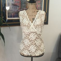 Lace tank top Cream lace with nude lining. CAbi Tops Tank Tops