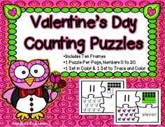 Valentine's Day Number Puzzles  •Your students will have fun finding the corresponding number, ten frame, objects, and number word for values from 0 to 20.  •Tracing, cutting, and gluing... Guaranteed to help develop their fine motor skills.