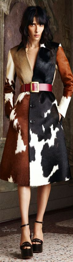 **YIKES!! - If looks could Kill!!!** --Bally Spring 2016 RTW-- (well...that IS a dead cow she's wearing!) --- [Gasp! -- I can't believe you said that!] **me.neither!**