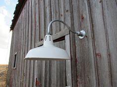 Relektrik™ Vintage Barn 16  Round Shade White Porcelain Wall Light Gas Station Industrial Farm Industrial Warehouse Authentic Antique & Vintage industrial lighting barn light gooseneck pipe gas ... azcodes.com