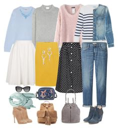 """""""spring capsule with blue yellow and pink"""" by fly2010 on Polyvore featuring Acne Studios, Chicnova Fashion, HANIA by Anya Cole, Topshop, Yumi, Uniqlo, SELECTED, Rupert Sanderson, Gianvito Rossi and Valentino"""