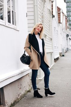 Camel coat, white tee and jeans
