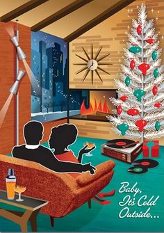 Mid Century Couple Christmas Cards feature a vintage style pad with a cozy retro couple warming up in front of a modern fireplace at Christmas time. Couple Christmas, Noel Christmas, Modern Christmas, Christmas Greetings, Xmas, Holiday Cards, Retro Christmas Tree, 1950s Christmas, Christmas Ideas