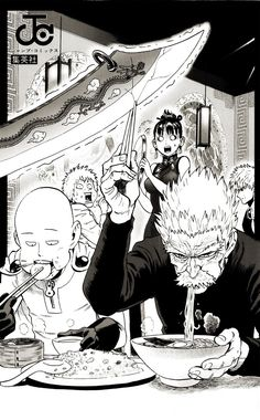 Didn't your mother teach you to never disturb people when they are eating! One punch man.