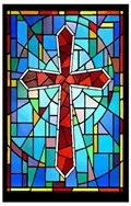 Window Art in Vinyl Etchings: Crimson Stained Glass Cross with a Multi-Colored Background - Etched Vinyl Stained Glass Film, Static Cling Window Decal, Religious Stained Glass Patterns Free, Stained Glass Designs, Stained Glass Projects, Stained Glass Church, Stained Glass Quilt, Stained Glass Windows, Cross Patterns, Quilt Patterns Free, Crochet Patterns