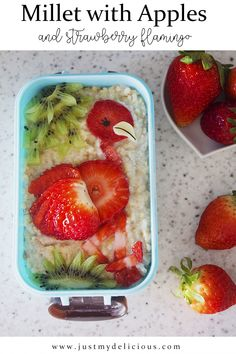Millet with apples and strawberry flamingo is perfect for breakfast, supper, lunch or even dinner. So cute and healthy with a little effort during its` preparation. #recipe #recipes #food #lunch #supper #breakfast #cutefood #cute #foodstylist #foodstyling #foodphotographer #foodphotography #foodie #foodart #flamingo #strawberry #strawberries #kiwi #kiwifruit #millet #milletpudding #healthy #fit #apples Food Art For Kids, Cute Food, Kiwi, Food Styling, Flamingo, Watermelon, Food Photography, Strawberry, Pudding