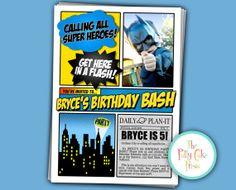 Batman Party Invitation Birthday Party Custom Photo Printable Digital File Super Hero Spiderman Superman Captain America Superhero