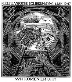 m c escher | ... Year's Greeting Card - 1947 by M. C. Escher from Skot Foreman Fine Art
