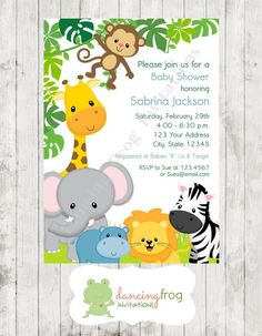 Wild Animals, Jungle, Safari Baby Shower Invitations - Printed Jungle Safari Baby Shower Invitation by Dancing Frog Invitations