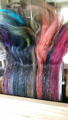 Black rainbow. Drumcarder. Spinning batt made by monique van Groningen
