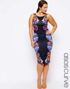 Enlarge ASOS CURVE Exclusive Body-Conscious Dress In Mirror Graphic Floral Print