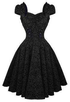 Gorgeous gothic swing / retro / rockabilly black dress. So you!