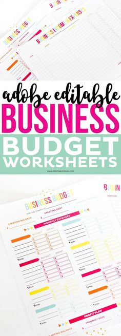 Editable Business Budget Worksheets