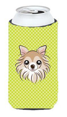 Checkerboard Lime Green Chihuahua Tall Boy Beverage Insulator Hugger BB1313TBC