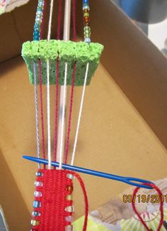 """Tissage et perles Just when I thought I had seen it all (weaving styles) I participated in a workshop on """"Bow Loom Headband Weaving! Now, my first thought when I saw the bowed dowel rod set-up, was """"I be… Inkle Weaving, Inkle Loom, Card Weaving, Tablet Weaving, Straw Weaving, Hobbies And Crafts, Arts And Crafts, Weaving Projects, Baltimore Orioles"""