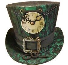 Steampunk madhatter Handmade green/black lace Top Hat'