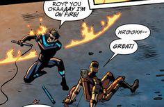 Dick Grayson and Roy Harper I Am Batman, Batman Robin, Tim Drake, Jason Todd, Nightwing And Batgirl, Richard Grayson, Al Ghul, Bat Boys, Dc Memes