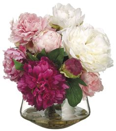 Bloom Room Luxe 12'' Peony In Glass Vase - Pink