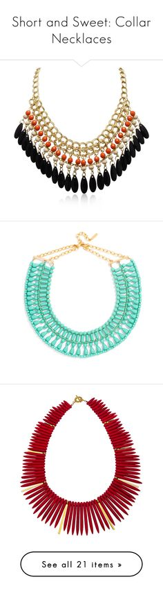 """""""Short and Sweet: Collar Necklaces"""" by polyvore-editorial ❤ liked on Polyvore featuring collarnecklaces, jewelry, necklaces, yellow, gold jewelry, chain necklaces, orange necklace, gold bib necklace, yellow necklace and bead jewellery"""