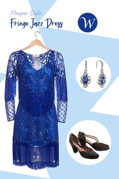 This Flapper Style Fringe Jazz Dress in Royal Blue will make you stand out from the crowd as you walk or do the Charleston.