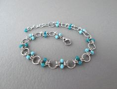 Chainmaille Jewelry Turquoise Anklet Beaded by BlackCatLinks