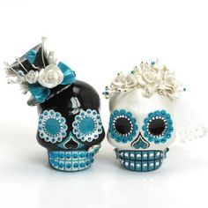 Teal Blue Wedding Cake Topper Day of the Dead Skull 00169 Centerpieces | sweetiecaketopper - Wedding on ArtFire