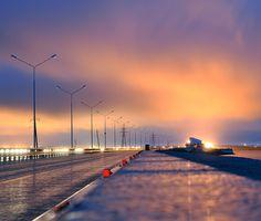 Gloomy Night | dam, evening, lights, St. Petersburg