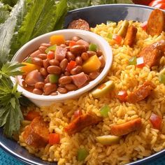 ARROZ CON CHORIZOS(yellow rice n sausage chorizos,with Goya pink beans)