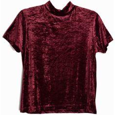 Vintage 90s Burgundy Crushed Velvet Top Short Sleeve Turtleneck Top... (55 CAD) ❤ liked on Polyvore featuring tops