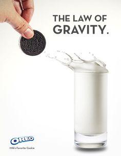 """""""Oreo no explica la ley de la gravedad con esta excelente imagen"""" #publicidad #marketing #oreo #creatividad #original"""