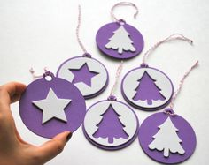 MOVING SALE 6 Foam Christmas Ornaments Purple and by Mariapalito, $7.00
