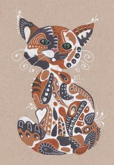 Lwick Original Ink Zentangle Doodle Design Animal Kitty Calico Cat Feline | eBay