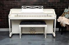 Shabby chic white by Dave.   www.myfirstpiano.net #piano #refinish