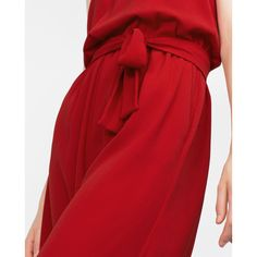 Zara Fancy Cropped Jumpsuit ($70) ❤ liked on Polyvore featuring jumpsuits, red jump suit, cropped jumpsuit, dressy jumpsuits, zara jumpsuit and fancy jumpsuits